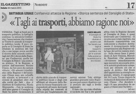 Confservizi Veneto_trasporto pubblico locale_il gazzettino_30marzo2013