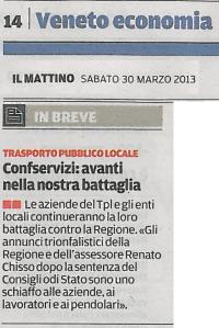Confservizi Veneto_trasporto pubblico locale_il mattino_30marzo2013