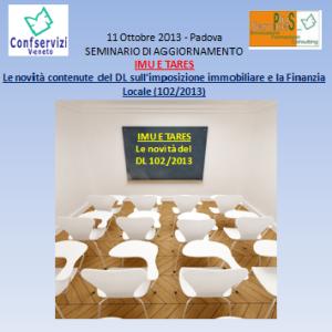 Seminario aggiornamento IMU E TARES 11ottobre2013_Confservizi Veneto_plus services